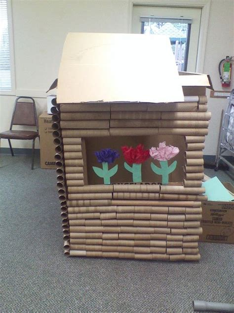 Things To Make Out Of Paper Towel Rolls - log cabin created out of a card board box and paper towel