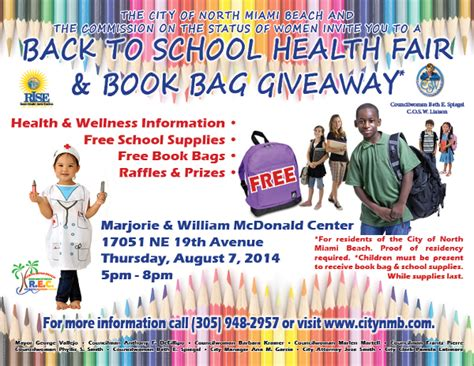 Free Health Fair Giveaways - school health fair flyer what back to school health
