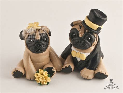 wedding pug pug wedding cake topper