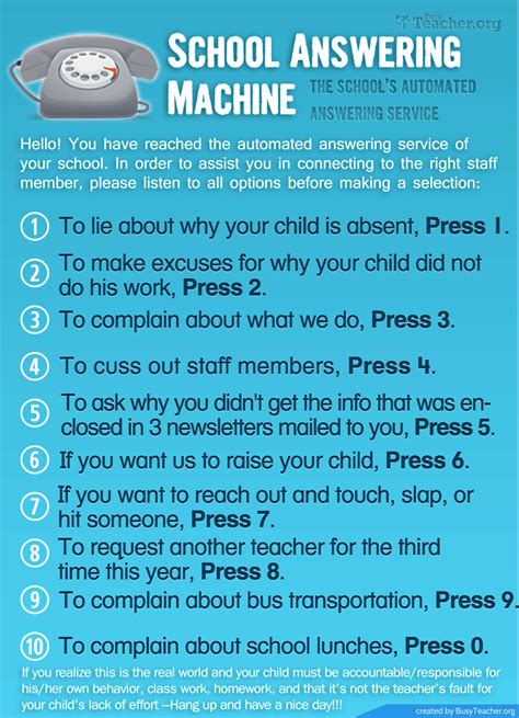 school answering machine poster