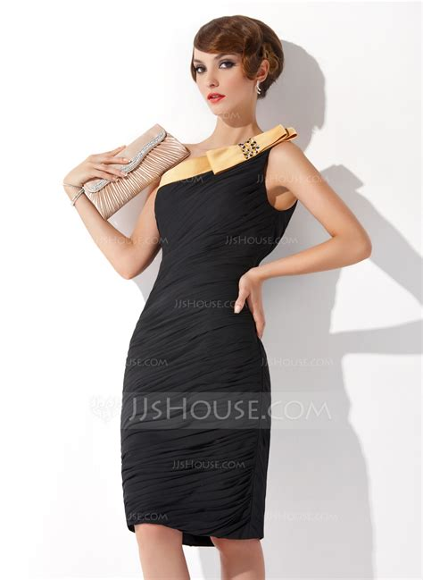 cocktail table sash length sheath column one shoulder knee length chiffon cocktail