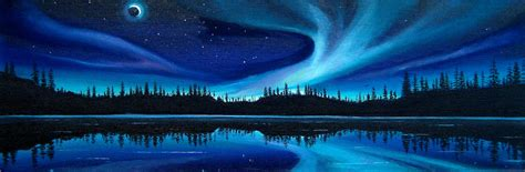 northern lights painting by wesvandykeart on etsy