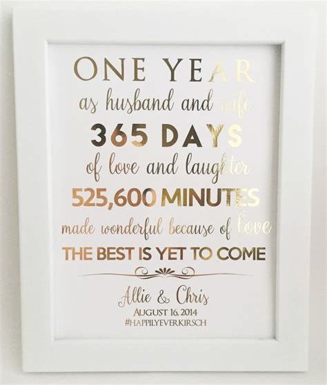 1 year wedding anniversary ideas 1st anniversary gift anniversary gift for