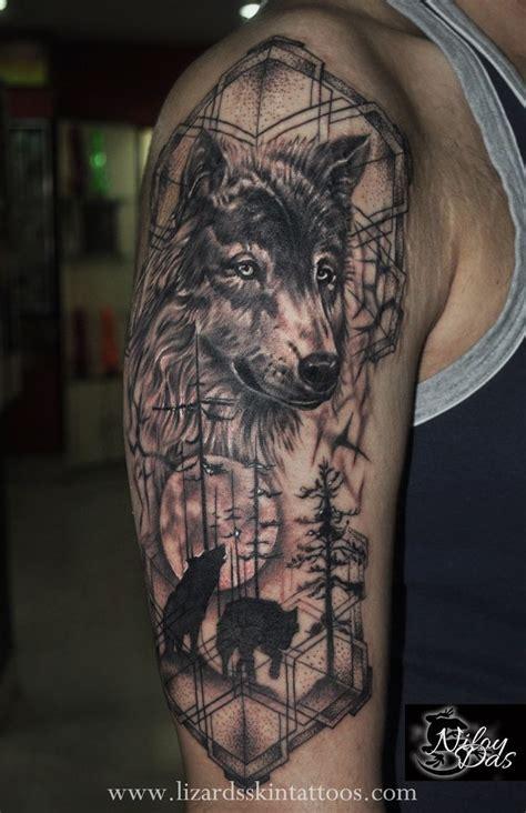 quarter sleeve wolf tattoo wolf tattoos for men wolf tattoos creativity and tattoo