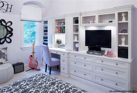 bedroom with desk wall units with desk home office contemporary with artwork built in bookshelves