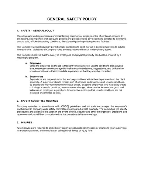 company safety policy template safety letter template letter template 2017