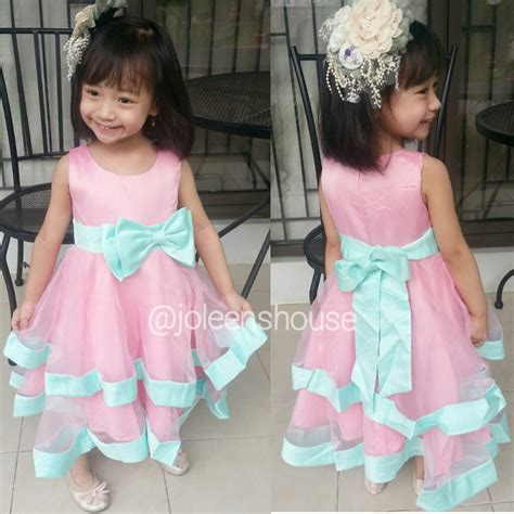 Dress Anak Pink Ribbon jual dress pink tosca ribbon baju pesta anak