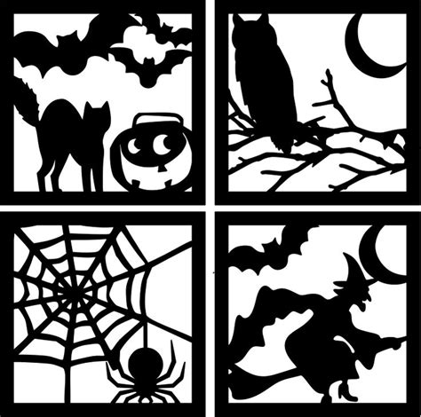 the lady wolf halloween square silhouettes svg