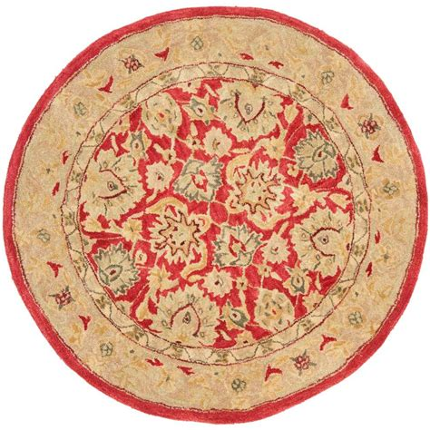 Safavieh Anatolia Red Ivory 4 Ft X 4 Ft Round Area Rug 4 Foot Area Rugs