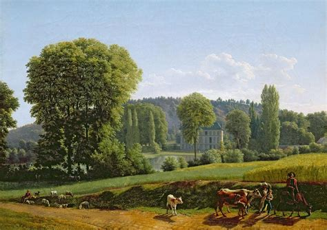 Tree Duvet Cover Landscape With Animals Painting By Lancelot Theodore