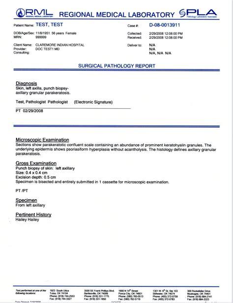 Histology Report Template pathology report exles regional laboratory