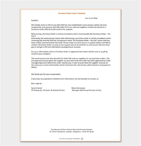 purchase order letter writing guide samples