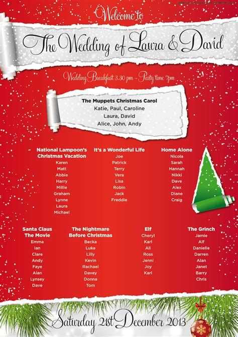 christmas theme names for parties wedding table and seating plan wedfest