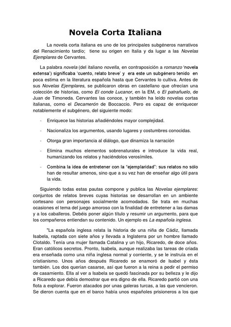 ejemplo de novela corta novela corta italiana a by sarmiento curtis issuu