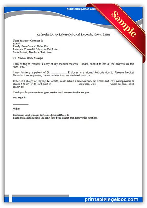 Release Letter Insurance Free Printable Authorization To Release Records Cover Letter Form Generic
