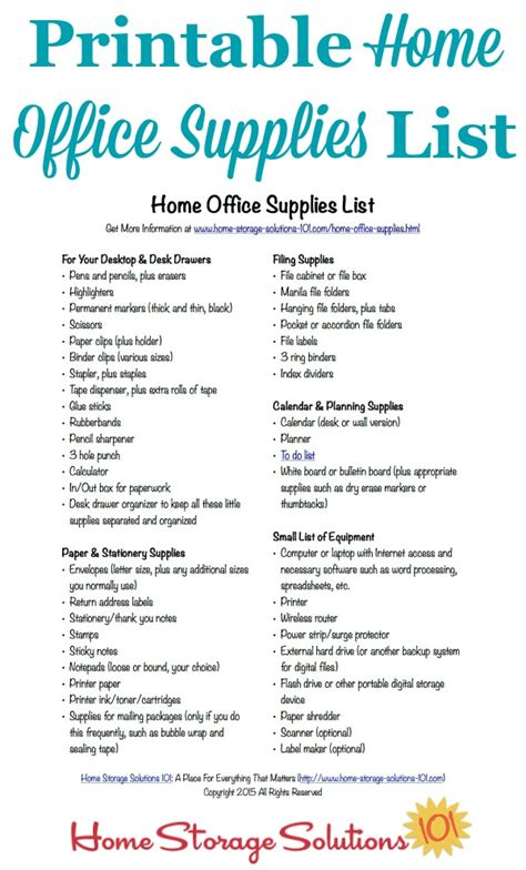 Office Supplies Needed For College Free Printable Home Office Supplies List Office Supplies