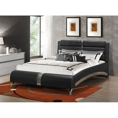 coaster jeremaine upholstered modern bed in black
