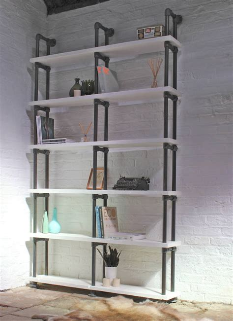 reclaimed white painted scaffolding bookcase by