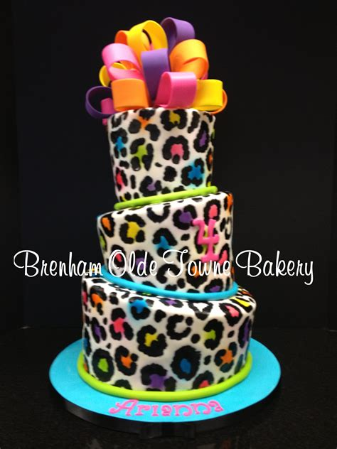 Cake Decorating Ideas For Zebra Print Topsy Turvy Neon Leopard Print Birthday Cake Brenham