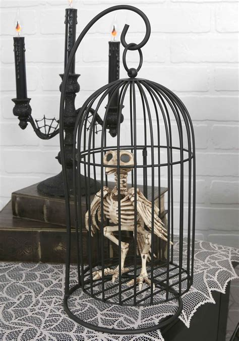 Scary Outdoor Halloween Decorations Skeleton Bird In Cage