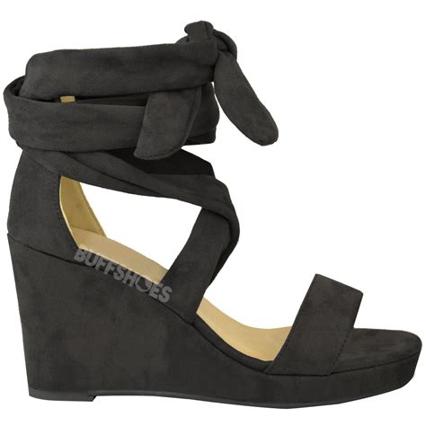 new womens wedges sandals tie lace up low heels