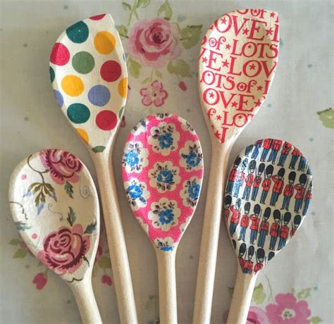 Decoupage Ideas For Wood - decoupage wooden spoons gift baker vintage