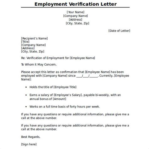Employment Verification Letter For Visitor Visa proper sle employment verification letter letter