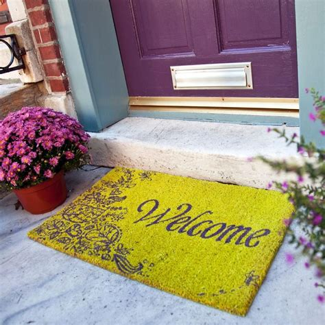 Purple Doormat by Doormat That Says Welcome With Scrolly Flowers Green And
