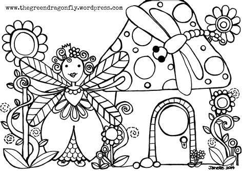 faerie garden spring colouring coloring sheets the green dragonfly