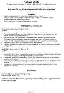 resume example for an investment analyst susan ireland