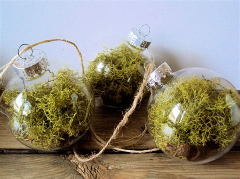 woodland tree ornaments set of three woodland moss bauble ornaments by