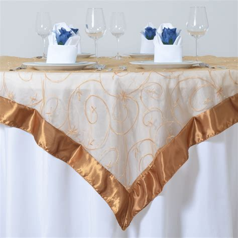 Square Organza Gold gold embroidered organza 72x72 quot square table overlay wedding linens dinner ebay