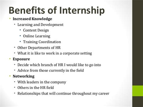 Mba Summer Internship Benefits by Hr Internship Presentation