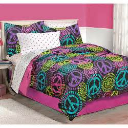 peace sign bedroom latitude neon peace bedding comforter set walmart com