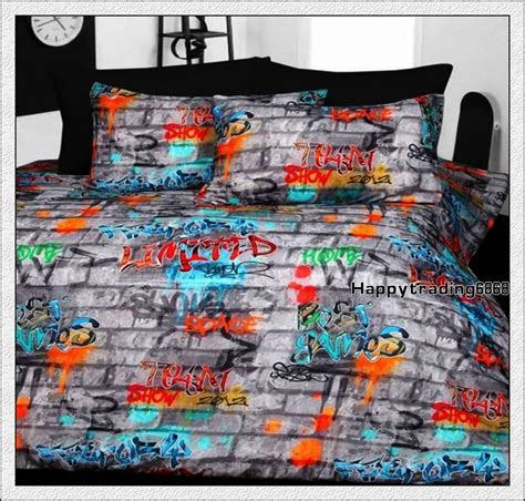 graffiti bedding graffiti grey orange aqua green queen double single