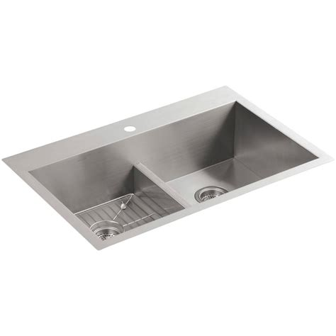 Kohler Stainless Steel Kitchen Sink Kohler Vault Drop In Undermount Stainless Steel 33 In 1 Basin Kitchen Sink Kit K