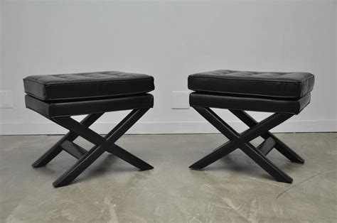 Leather X Base Stool by Black Leather X Base Stools For Sale At 1stdibs