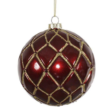 maroon christmas decorations 6ct finish burgundy with gold glitter net ornaments 4 quot 100mm walmart