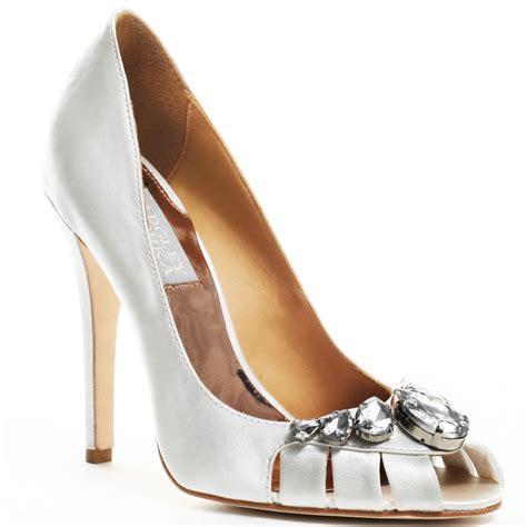 heels shoes badgley mischka s white caroline heel white satin for