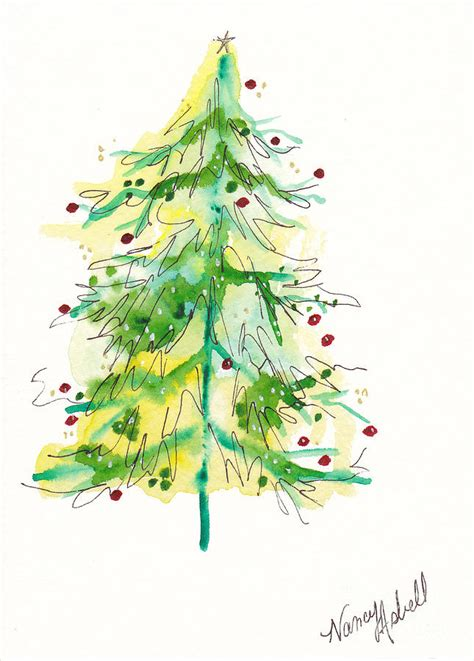 green watercolor christmas tree painting by michele
