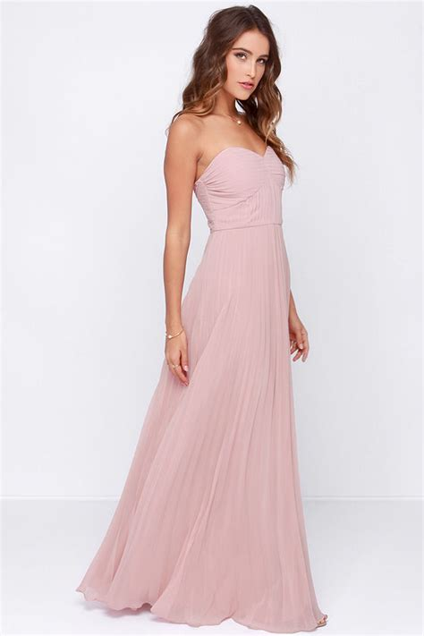 chagne colored bridesmaid dresses blush pink dress maxi dress strapless dress pleated