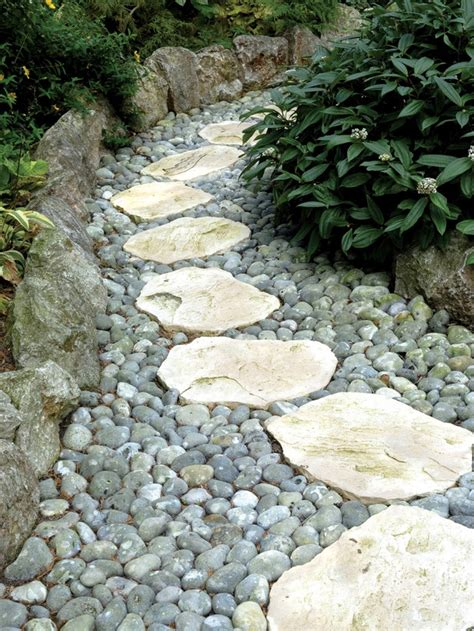 backyard pebble gravel 43 awesome garden stone paths digsdigs