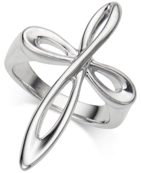 macy s infinity ring namb 233 infinity cross ring in sterling silver rings