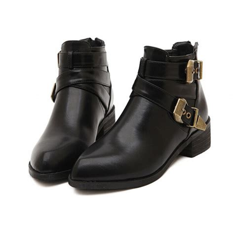 black brass buckle ankle boots