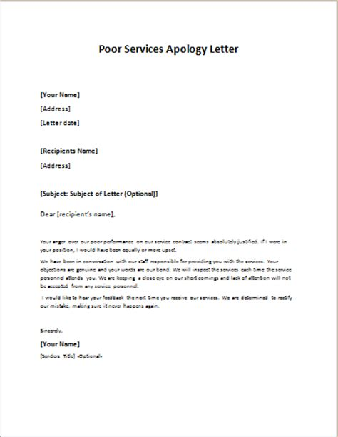 Letter Of Apology Regarding Bad Service Formal Official And Professional Letter Templates Part 14