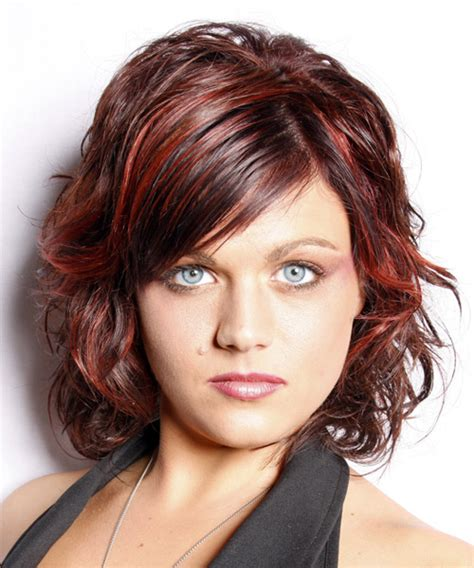 casual hairstyles for medium thick hair medium wavy casual hairstyle with side swept bangs dark red