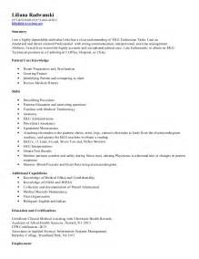 Telemetry Technician Cover Letter by Technician Resume Sle Resume Ekg Technician Resume Ekg Tech Resume Ekg Technician Resume