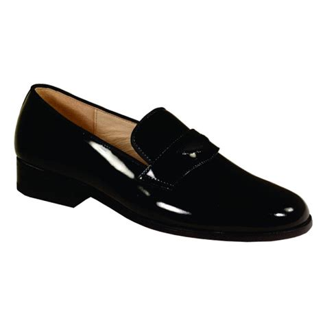 black siena genuine patent leather slip on tuxedo shoes