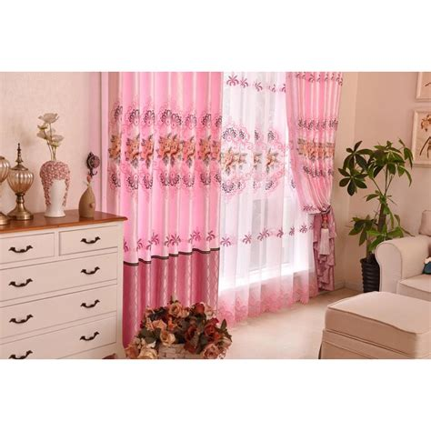 color block bedroom pink floral embroidery polyester and silk country color