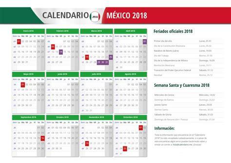 Calendario 2018 Con Festivos Calendario 2018 Mexico Con Feriados Para Imprimir